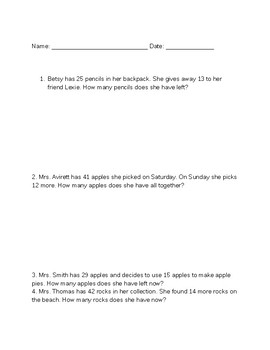 Adding & Subtracting Word Problems
