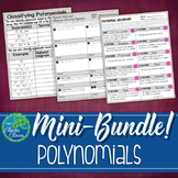 Adding, Subtracting and Classifying Polynomials - Notes, Scavenger Hunt & Quiz