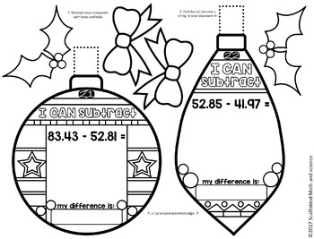Adding, Subtracting and Multiplying Decimals Holiday Ornament Activities
