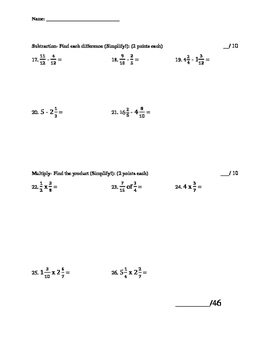 Fractions Quiz (Adding, Subtracting and Multiplying Fractions)