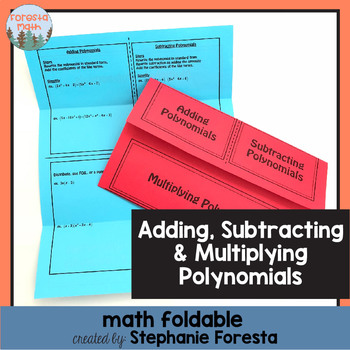 Adding, Subtracting, and Multiplying Polynomials Foldable