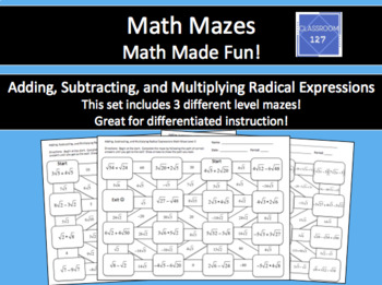 Adding, Subtracting, and Multiplying Radical Expressions Math Maze