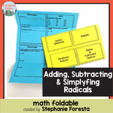 Adding, Subtracting, and Simplifying Radicals Foldable