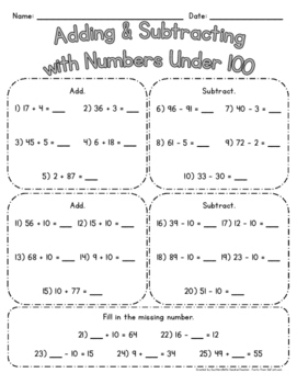 Adding & Subtracting w/ Numbers Under 100 - Use for PRACTICE or QUIZ! :)