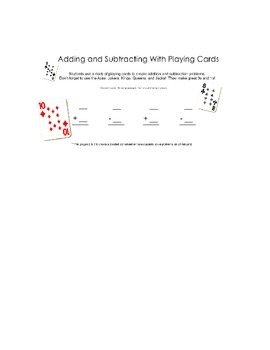 Adding & Subtracting with Playing Cards