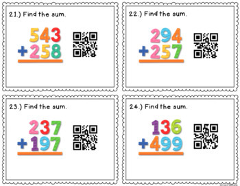 QR Code Task Cards: Adding & Subtracting with Regrouping {2 and 3 Digit Numbers}