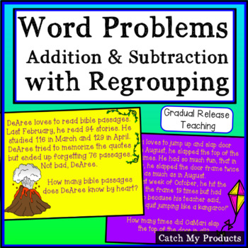 Adding & Subtracting with Regrouping Word Problems for Promethean Board (IG)