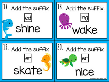 Adding Suffixes Drop Rule Task Cards/Scoot Game