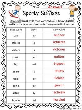 Suffix Activity Sheet