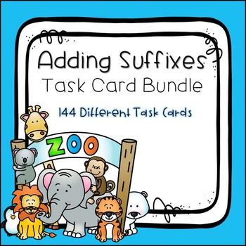 Adding Suffixes Task Card Bundle
