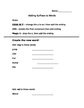 Adding Suffixes (spelling rules)