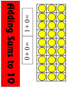 Adding Sums of Ten - Ten Frame  Counting 0-10 Mats - Learning Center Kit