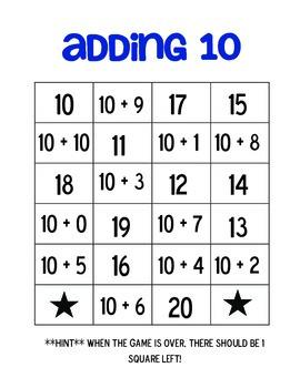 Adding Ten Bingo