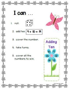 Adding Ten Math Work Station FREEBIE