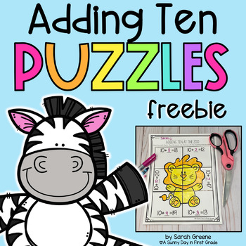 Adding Ten Puzzles {freebie!}