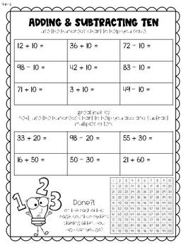 Adding Tens Worksheet Teaching Resources  Teachers Pay Teachers Adding Ten Worksheet Adding Ten Worksheet