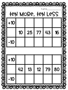 Adding Ten and Subtracting Ten [+10 and -10]