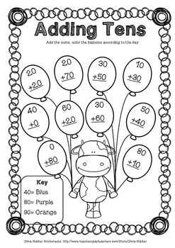 adding tens onto two digit numbers worksheets printables for grade one. Black Bedroom Furniture Sets. Home Design Ideas