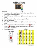 Adding Tens Math Center - Intro to 2-Digit Addition with a 100 Chart