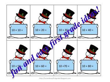 Adding Tens Snowmen Card Game Fun (Common Core Aligned)