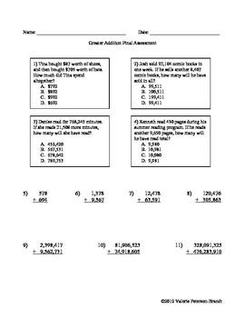 Adding Tens through the Millions Assessments