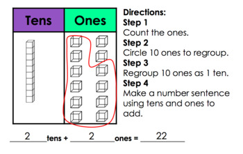 Adding Tens with Regrouping Using Base 10 Blocks (Math Center)