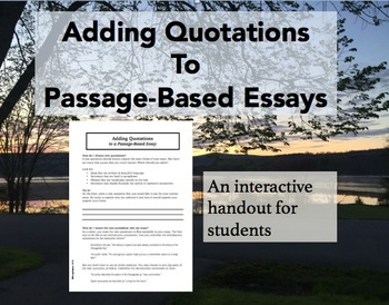 Adding Text Quotations to Passage-Based Essays
