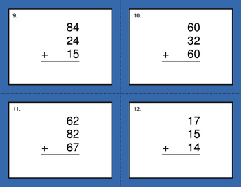 Adding Three 2-Digit Addition BINGO and Task Cards