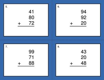 Adding Three 2-Digit Addition BINGO and Task Cards