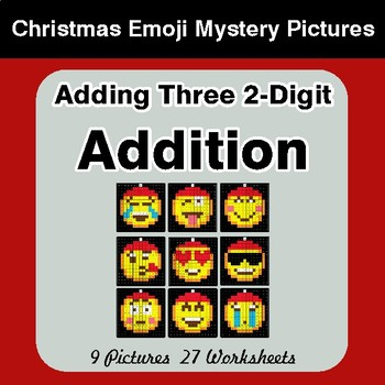 Adding Three 2-Digit Addition - Christmas EMOJI Color-By-Number Mystery Pictures