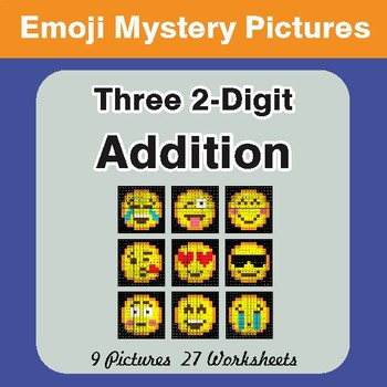Adding Three 2-Digit Addition Color-By-Number EMOJI Math Mystery Pictures