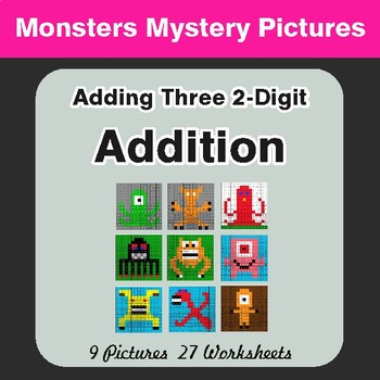 Adding Three 2-Digit Addition - Color-By-Number Mystery Pictures