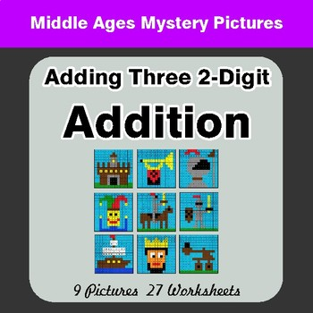 Adding Three 2-Digit Addition - Color By Number Math Mystery Pictures