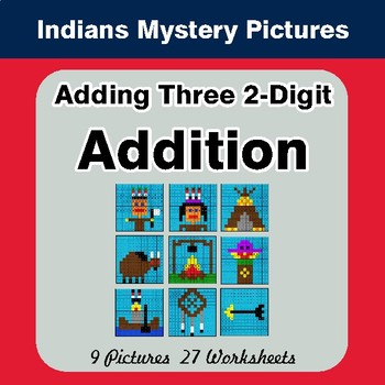 Adding Three 2-Digit Addition - Color-By-Number Math Mystery Pictures - Indians Theme