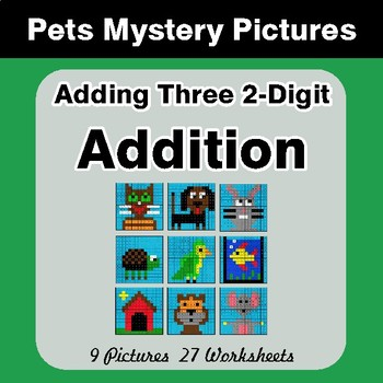 Adding Three 2-Digit Addition - Color-By-Number Math Mystery Pictures - Pets Theme