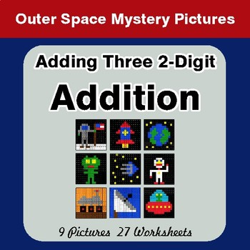 Adding Three 2-Digit Addition - Color-By-Number Math Mystery Pictures - Space theme