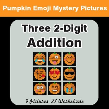 Adding Three 2-Digit Addition - Color-By-Number PUMPKIN EMOJI Math Mystery Pictures