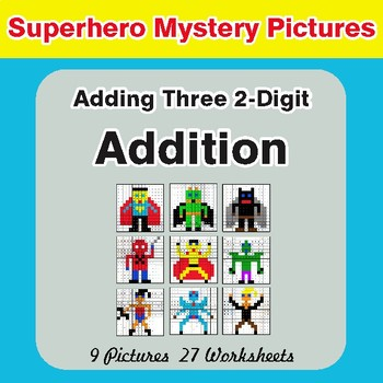 Adding Three 2-Digit Addition - Color-By-Number Superhero Mystery Pictures
