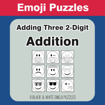 Adding Three 2-Digit Addition - Emoji Picture Puzzles