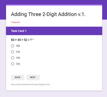 Adding Three 2-Digit Addition - Interactive Digital Task Cards - Google Forms