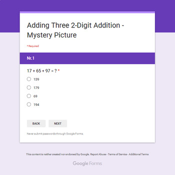 Adding Three 2-Digit Addition - Monster Mystery Picture - Google Forms