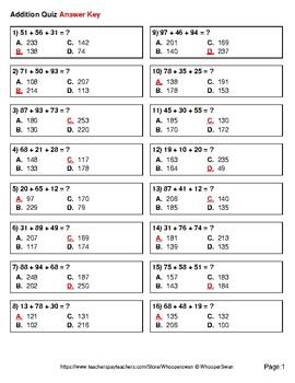 Adding Three 2-Digit Addition Quiz - Test - Assessment - Worksheet