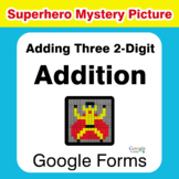 Adding Three 2-Digit Addition - Superhero Mystery Picture - Google Forms