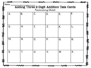 Adding Three 2-Digit Addition {Task Cards}