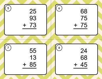 Adding Three 2-Digit Addition Task Cards