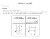 Adding Three 2-Digit Numbers: 6 Digits Make 100 Game