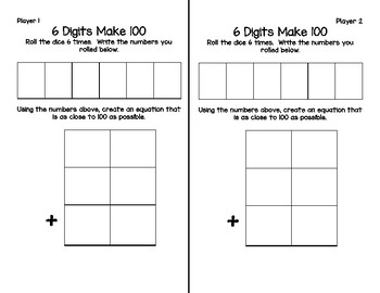 Adding Three 2-Digit Numbers: 6 Digits Make 100 Game