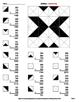 Adding Three 3-Digit Addition - Coloring Worksheets