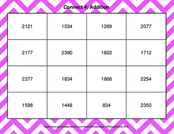 Adding Three 3-Digit Addition - Connect 4 Game