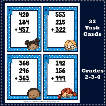 Adding Three 3-Digit Numbers Task Cards